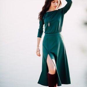 Nelli Uzun Designer Green Boatneck Midi Dress 0